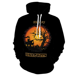 Designer Happy Halloween Haunted House Scene Hoodie Soft Sweatshirt with Pockets - Unisex - Use Size Chart - Do Not Take Your Normal Size