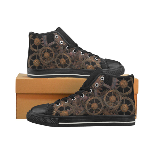 Steampunk Gears Women's Aquila High Top Canvas Sneakers Shoes