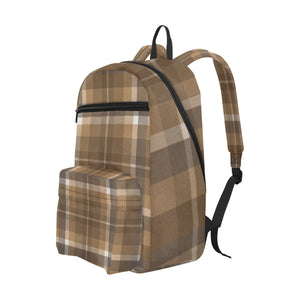 Brown And Tan Soft Plaid Large Capacity Waterproof Schoolbag - Travel Backpack