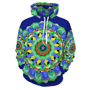 Designer Blue Mandala Floral Women's Hoodie Sweatshirt With Pockets - Use Size Chart - Do Not Take Your Normal Size