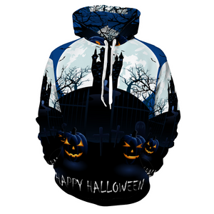 Designer Halloween Blue Pumpkin Patch Scene Hoodie Soft Sweatshirt with Pockets - Unisex - Use Size Chart - Do Not Take Your Normal Size