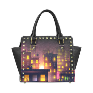 Cityscape Nighttime Leather Satchel Handbag - Rivet Details
