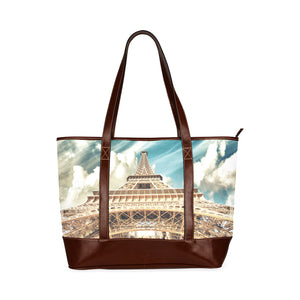 Paris Eiffel Tower Vintage Art Nouveau Waterproof Leather Tote Bag