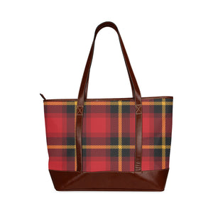 Women's Gingham Plaid High Grade Waterproof Shoulder Tote Bag