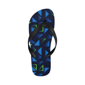 Womens Designer Blue Geometric Triangles Flip Flops