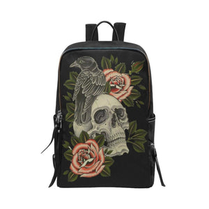 Designer Skull And Roses Laptop Backpack School Bag Travel Backpack Fits 15-Inch Laptop