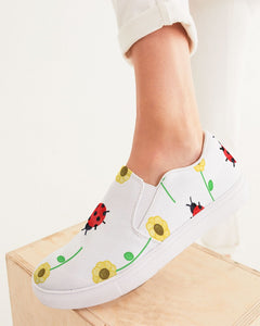 Designer Sunflowers and Lady Bugs Women's Slip-On Canvas Shoe