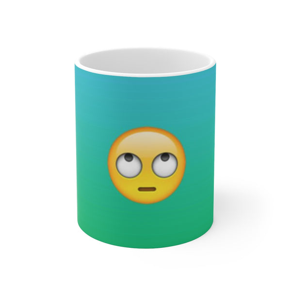 Eye Rolling Emoji On Teal Ceramic Mug 11oz and 15 oz