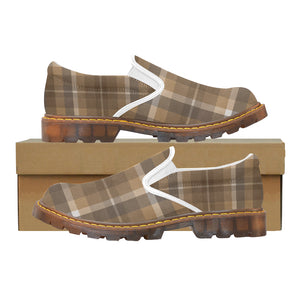 Women's Brown & White Plaid Oxford Loafers Slip-On Shoes