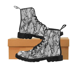 Designer Gray Snake Skin Combat Boots Women's - Lace Up Hiking Boots - Motorcycle Riding Boots