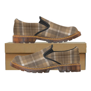 Women's Brown Plaid Oxford Loafers Slip-On Shoes