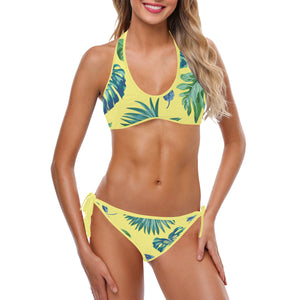 Plus Size Tropical Palm Leaves Yellow Custom Halter & Side Tie Bikini Swimsuit