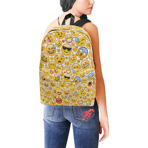 Large Capacity Nylon Backpack Schoolbag With Random Emoji Design