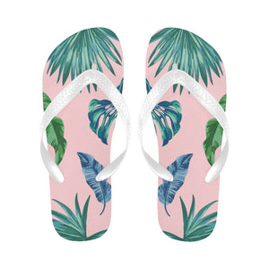Women's Designer Tropical Palm Leaves On Light Pink Flip Flops