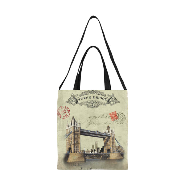 London Tower Bridge Art Nouveau Large Canvas Tote Bag All Over Print Canvas Tote Bag(Model1698)(Medium)
