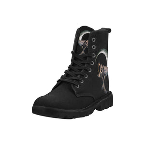 Designer Fairy Elf On The Moon Women's Combat Boots - High Quality Lace Up Hiking Boots