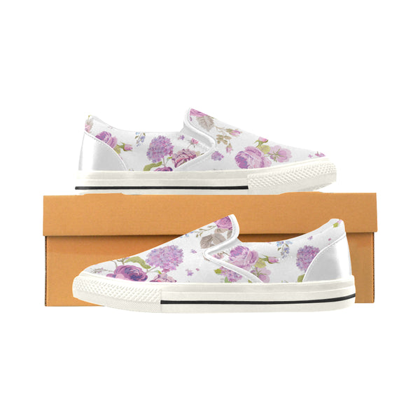 Women's Designer Canvas Slip On Loafers In Spring Floral Pattern