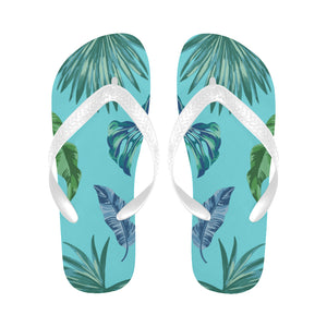 Women's Designer Tropical Aqua Blue Palm Leaves Flip Flops