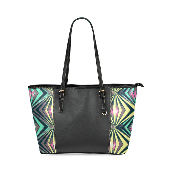 Large Capacity Tote Bag - Geometric Light Affect 100% Genuine PU Leather