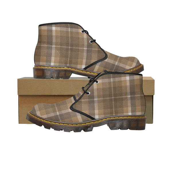Women's Designer Chic Soft Brown Plaid Canvas Chukka Ankle Boots