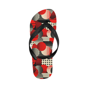 Women's Designer Red Retro Bubbles Flip Flops