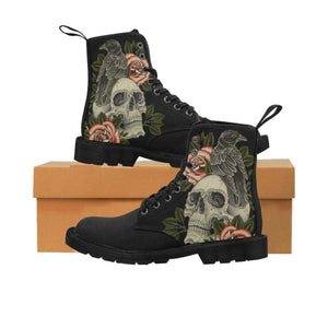 Designer Goth Skull And Roses Combat Boots  - Durable Hiking Boots - High Quality Lace Up Hiking Boots, Motorcycle Riding Boots