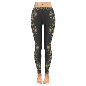 Plus Size Gold Floral Leggings Low Rise Waistline In Black