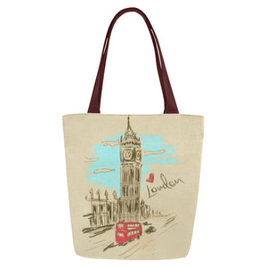 Shopping Tote Bags Set Of 2 - Big Ben Tower London Retro Design