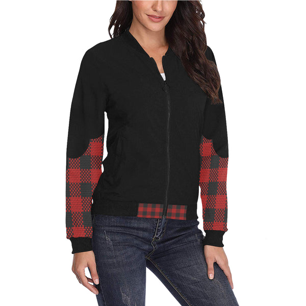 Plus Size Designer Plaid Scalloped Sleeve Classic Bomber Jacket