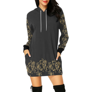 Plus Size Gold Floral Long Tunic Hoodie Top Hybrid Mini Dress