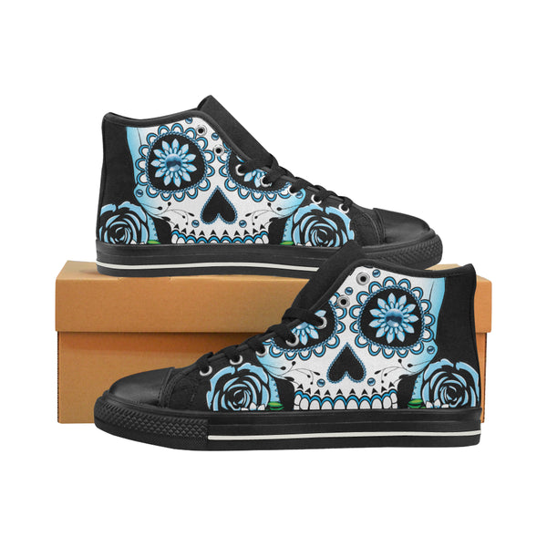 Goth Day Of The Dead Blue Skull & Roses Women's High Top Canvas Sneakers