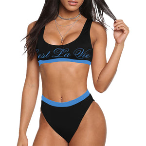 Plus Size C'est La Vie Bermuda Cut Tank Blue Sport Top & High-Waisted Bikini Swimsuit