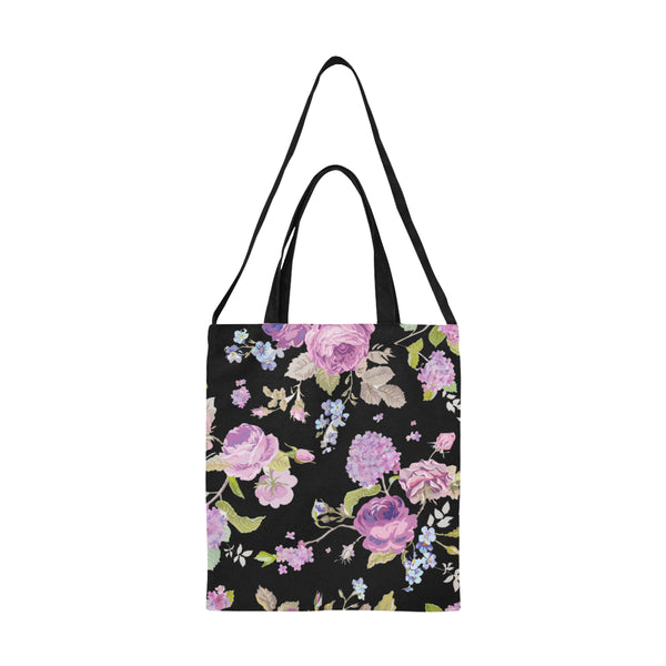 Pink And Purple Vintage Chic Floral Large Canvas Tote Bag With Double Handles