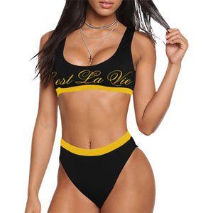 Plus Size C'est La Vie Bermuda Cut Tank Yellow Sport Top & High-Waisted Bikini Swimsuit