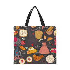 Paris Art Nouveau Collage Large Capacity Canvas Tote Bag - Shopping Tote
