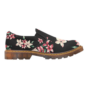 Women's Designer Oxford Loafers In Tropical Floral Design - Women's Slip-On Shoes