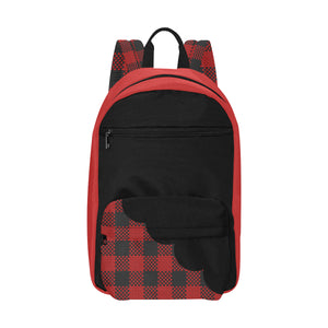 Tartan Red And Black Plaid Scallop Large Capacity Waterproof Backpack Travel Backpack