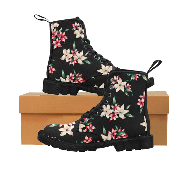Women's Chic Designer Tropical Floral Combat Boots Lace Up Canvas Hiking Boots