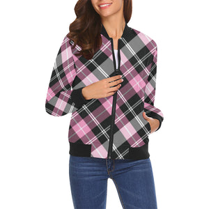 Plus Size Lightweight Black & Pink Argyle Bomber Jacket