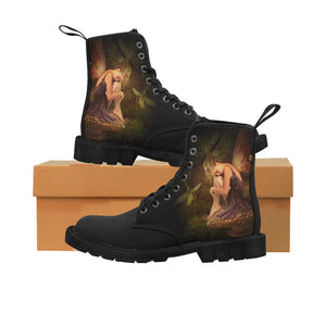 Women's Designer Forest Fairy Elf Combat Boot - Canvas Riding Boots