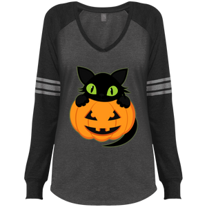 Plus Size Halloween District Made Ladies' Game V-Neck T-Shirt