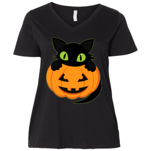 Plus Size Halloween LAT Ladies' Curvy V-Neck T-Shirt