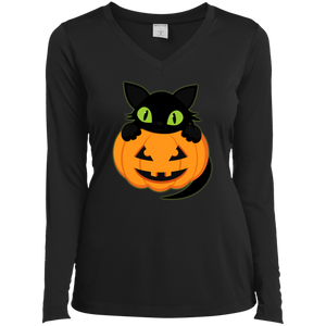 Plus Size Halloween Sport-Tek Ladies' LS Performance V-Neck T-Shirt