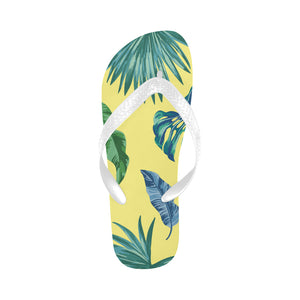 Women's Designer Tropical Palm Leaves On Yellow Flip Flops