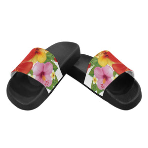 Designer Womens Tropical Hawaiian Floral Slides - Flip Flops - Sandals