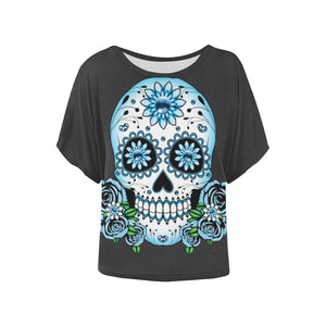 Plus Size Batwing Sleeve Top Goth Day Of The Dead Blue Skull & Roses