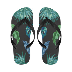 Women's Designer Tropical Palm Leaves On Black Flip Flops