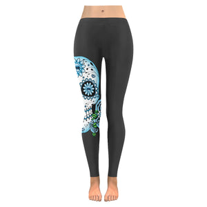 Plus Size Goth Day Of The Dead Blue Skull & Roses Leggings