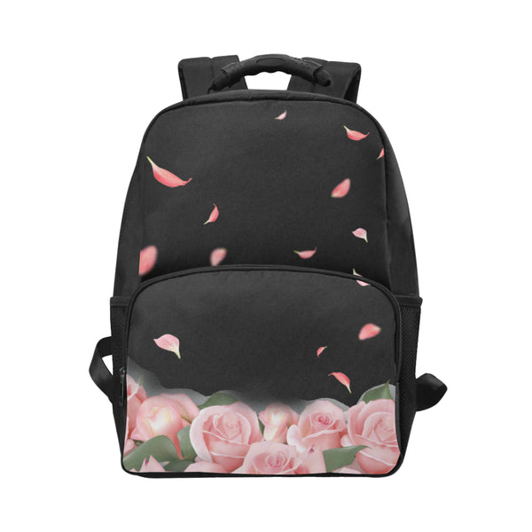 Pink Roses School Waterproof Laptop Backpack - Rucksack