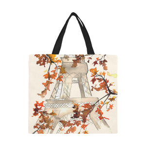 Paris Eiffel Tower Art Nouveau Autumn Large Capacity Canvas Tote Bag